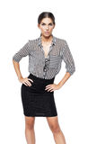 Confident businesswoman hands on waist isolated Royalty Free Stock Image