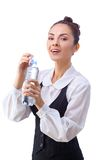 Confident businesswoman having drink from water Royalty Free Stock Photography