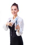 Confident businesswoman having drink from water Royalty Free Stock Photo