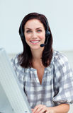 Confident businesswoman with headset on Royalty Free Stock Photos