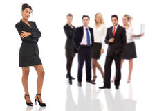 Confident businesswoman and her team Royalty Free Stock Photo