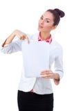 Confident businesswoman holding blank whiteboard Royalty Free Stock Photos