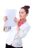 Confident businesswoman holding blank whiteboard Royalty Free Stock Image
