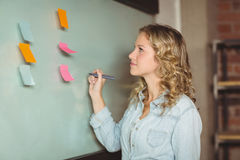 Confident businesswoman holding marker by board Stock Images