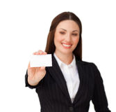 Confident businesswoman holding a white card Royalty Free Stock Image