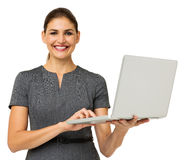 Confident Businesswoman With Laptop Stock Photos