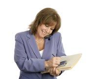Confident Businesswoman Multitasks Royalty Free Stock Photo
