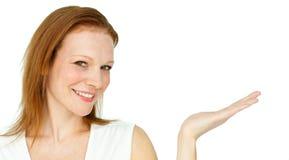 Confident businesswoman promoting Royalty Free Stock Photo