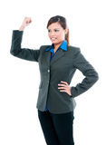Confident Businesswoman Raising Her Arm Royalty Free Stock Images