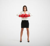 Confident businesswoman with red gloves Royalty Free Stock Image