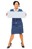 Confident businesswoman showing placard Royalty Free Stock Photos