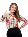 Confident businesswoman showing thumbs up Stock Images