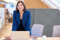 Confident businesswoman smiling while standing at her desk Stock Photo