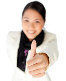 Confident Businesswoman with thumb up Stock Images