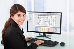 Confident businesswoman using computer at desk Stock Images