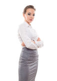 Confident Businesswoman On A White Background Royalty Free Stock Image