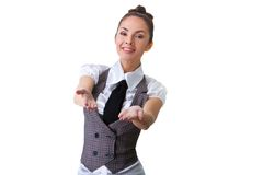 Confident Businesswoman On A White Background Stock Images