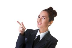 Confident Businesswoman On A White Background Stock Photo