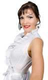 Confident businesswoman in white blouse isolated Stock Photography
