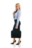 Confident businesswomen with briefcase. Beautiful and confident businesswomen with briefcase. Isolated on white Stock Image