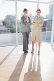 Confident businesswomen standing in bright office Royalty Free Stock Images