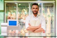 Confident butcher. Stock Photos