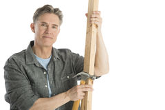 Confident Carpenter Holding Hammer And Wooden Plank. Portrait of confident male carpenter holding hammer and wooden plank against white background Royalty Free Stock Image