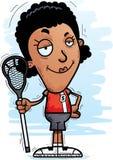 Confident Cartoon Black Lacrosse Player. A cartoon illustration of a black woman lacrosse player looking confident royalty free illustration