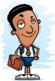 Confident Cartoon Black Man Student. A cartoon illustration of a black man student looking confident vector illustration