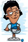 Confident Cartoon Black Racquetball Player. A cartoon illustration of a black woman racquetball player looking confident stock illustration
