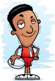 Confident Cartoon Black Rugby Player. A cartoon illustration of a black man rugby player looking confident stock illustration