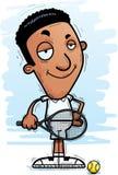 Confident Cartoon Black Tennis Player. A cartoon illustration of a black man tennis player looking confident vector illustration