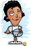 Confident Cartoon Black Tennis Player. A cartoon illustration of a black woman tennis player looking confident stock illustration