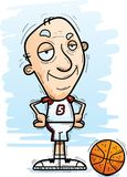 Confident Cartoon Senior Basketball Player. A cartoon illustration of a senior citizen man basketball player looking confident vector illustration