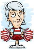 Confident Cartoon Senior Citizen Cheerleader. A cartoon illustration of a senior citizen woman cheerleader looking confident stock illustration