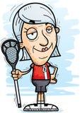 Confident Cartoon Senior Lacrosse Player. A cartoon illustration of a senior citizen woman lacrosse player looking confident vector illustration