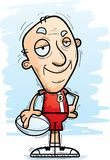 Confident Cartoon Senior Rugby Player. A cartoon illustration of a senior citzen man rugby player looking confident royalty free illustration