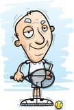 Confident Cartoon Senior Tennis Player. A cartoon illustration of a senior citizen man tennis player looking confident royalty free illustration