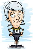 Confident Cartoon Senior Track Athlete. A cartoon illustration of a senior citizen woman track and field athlete looking confident vector illustration