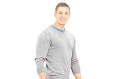 Confident casual guy walking and looking at camera Royalty Free Stock Photography