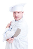 Confident chef or cook holding big knife cleaver. Posing isolated on white background stock images