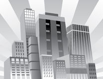 Confident City. Illustration of an upbeat, confident city stock illustration