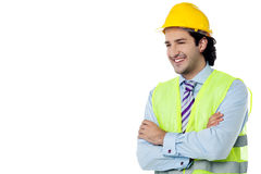 Confident civil engineer with hard hat Stock Photo
