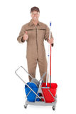 Confident Cleaner Showing Thumbs Up Stock Images