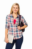 Confident College Student Holding Digital Tablet Stock Photography