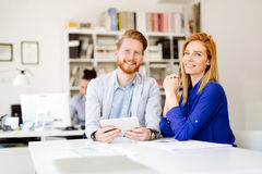 Confident company ceo at meeting. In office Stock Photography
