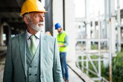 Confident construction engineer, architect, businessman in hardhat on building site royalty free stock images