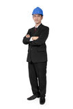 Confident construction manager standing. Confident Asian construction manager standing with crossed arms pose, full body shot, isolated on white background Royalty Free Stock Image