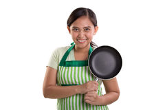 Confident cooking lady smiles Royalty Free Stock Images