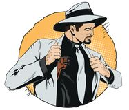Confident cool man with gun. vector illustration
